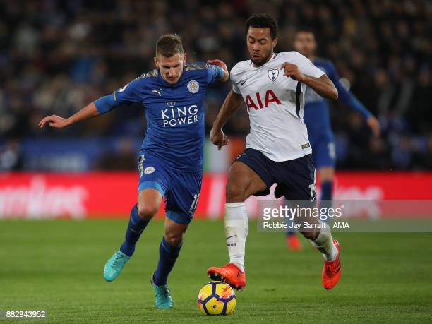 Marc Albrighton of Leicester City and Mousa Dembele of Tottenham Hotspur during the Premier League match between Leicester City and Tottenham Hotspur...