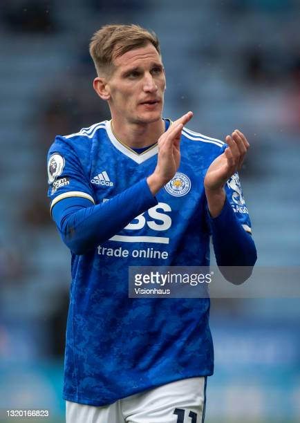 Marc Albrighton of Leicester City applauds the crowd during the Premier League match between Leicester City and Tottenham Hotspur at The King Power...