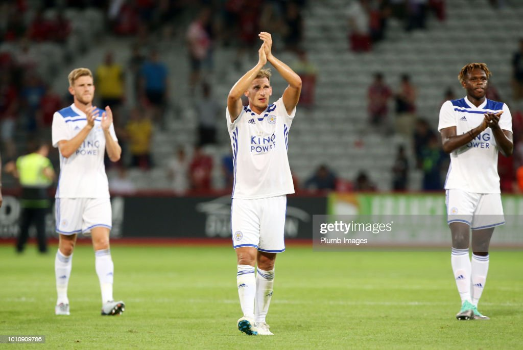 Marc Albrighton of Leicester City applauds the travelling fans after the pre-season friendly match between Lille and Leicester City at Stade Pierre Mauroy on August 4, 2018 in Lille, France.