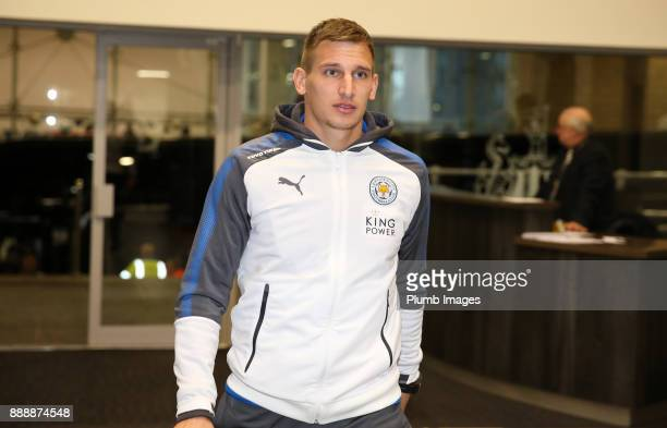 Marc Albrighton of Leicester City arrives at St James Park ahead of the Premier League match between Newcastle United and Leicester City at St James...