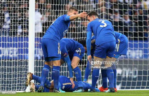 Marc Albrighton of Leicester City calls to the bench as Demarai Gray of Leicester City lays injured after scoring to make it 10 the Premier League...