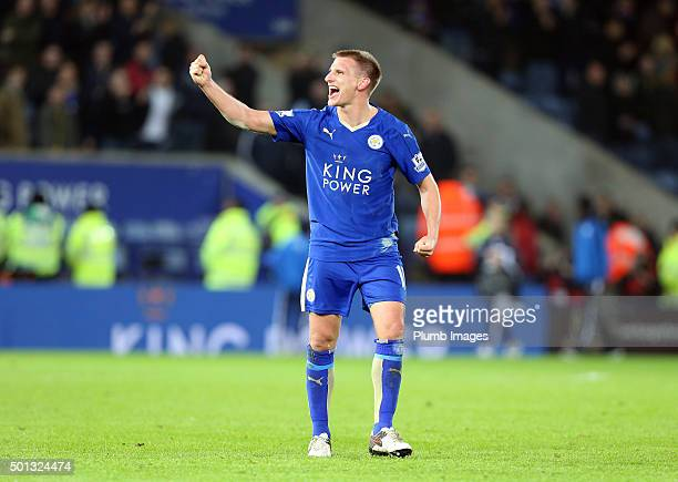 Marc Albrighton of Leicester City celebrates after beating Chelsea 2-1 during the Barclays Premier League match between Leicester City and Chelsea at...