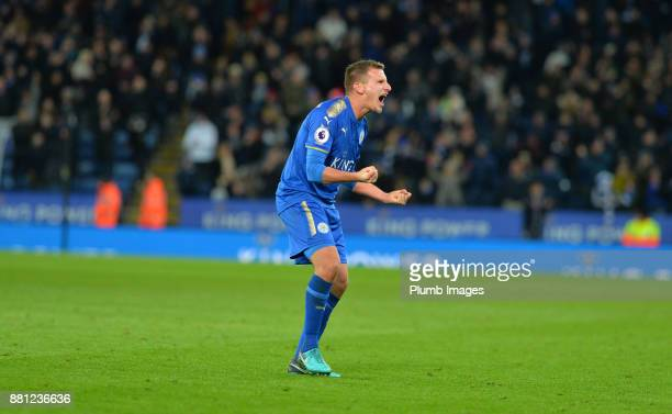 Marc Albrighton of Leicester City celebrates after beating Tottenham Hotspur 21 during the Premier League match between Leicester City and Tottenham...
