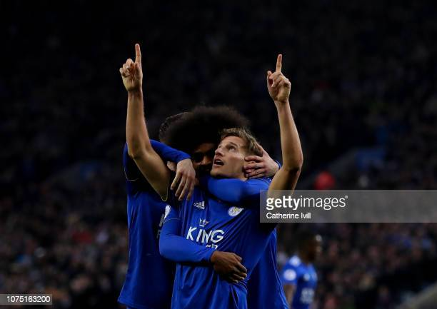 Marc Albrighton of Leicester City celebrates after he scores his sides first goal during the Premier League match between Leicester City and...
