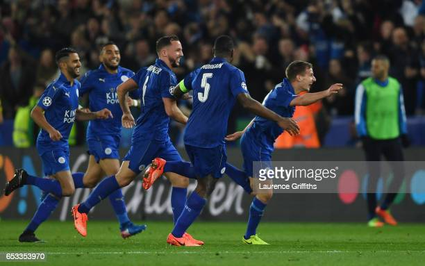 Marc Albrighton of Leicester City celebrates after scoring his team's second goal during the UEFA Champions League Round of 16 second leg match...
