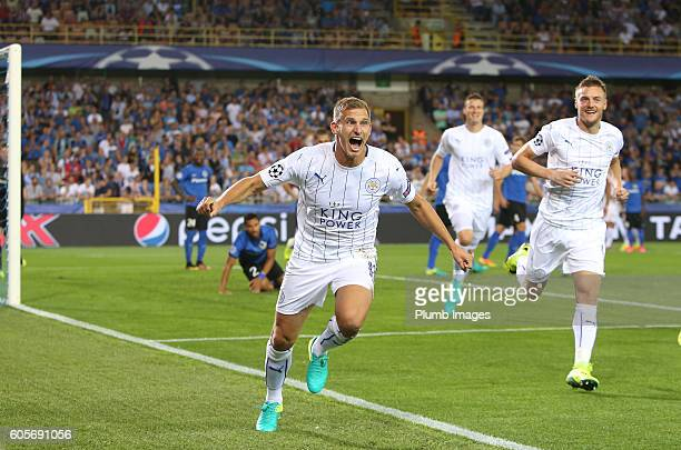 Marc Albrighton of Leicester City celebrates after scoring to make it 01 at Jan Breydel Stadium during the Champions League tie between Club Brugge...