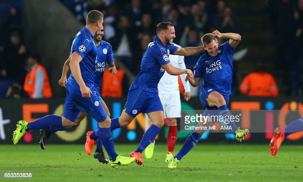 Marc Albrighton of Leicester City celebrates after scoring to make it 20 during the UEFA Champions League Round of 16 second leg match between...