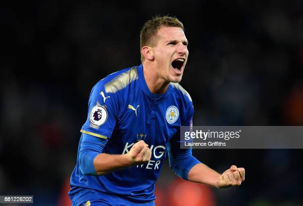 Marc Albrighton of Leicester City celebrates after the Premier League match between Leicester City and Tottenham Hotspur at The King Power Stadium on...