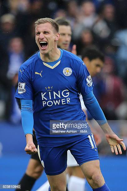 Marc Albrighton of Leicester City celebrates scoring a goal to make the score 40 during the Barclays Premier League match between Leicester City and...