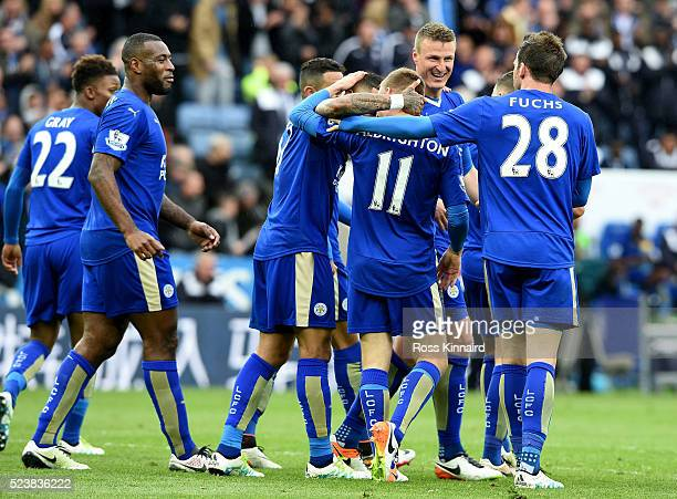 Marc Albrighton of Leicester City celebrates the forth goal during the Barclays Premier League match between Leicester City and Swansea City at the...
