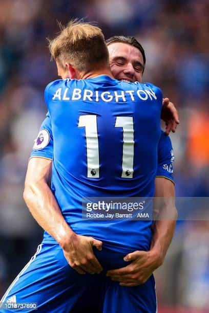 Marc Albrighton of Leicester City celebrates with Ben Chilwell of Leicester City after his cross results in an own goal from Matt Doherty of...