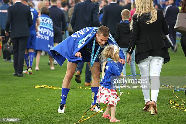 Marc Albrighton of Leicester City celebrates with daughter Matilda as Leicester City celebrate becoming Premier League Champions for the 2015/16...