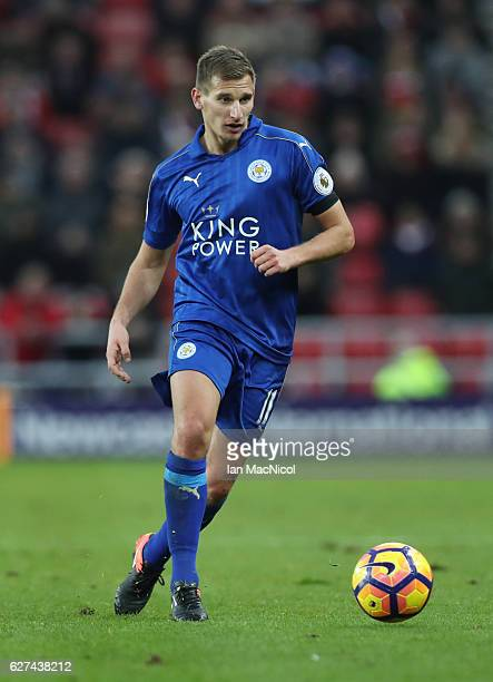 Marc Albrighton of Leicester City controls the ball during the Premier League match between Sunderland and Leicester City at Stadium of Light on...