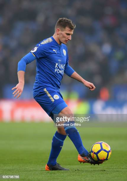 Marc Albrighton of Leicester City controls the ball during the Premier League match between Leicester City and AFC Bournemouth at The King Power...