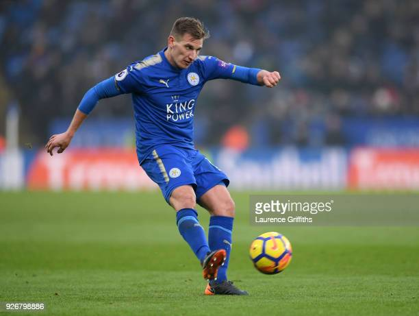 Marc Albrighton of Leicester City crosses the ball during the Premier League match between Leicester City and AFC Bournemouth at The King Power...