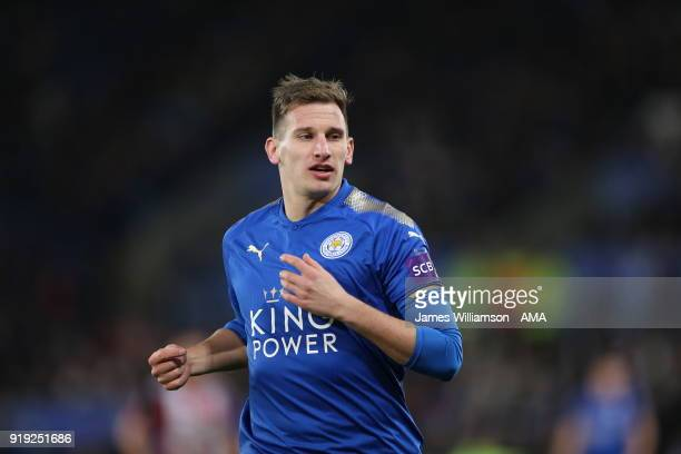 Marc Albrighton of Leicester City during the Emirates FA Cup Fifth Round match between Leicester City and Sheffield United at The King Power Stadium...