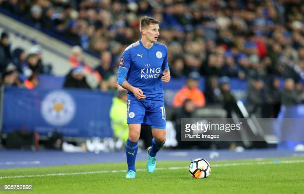Marc Albrighton of Leicester City during the FA Cup Third round replay between Leicester City and Fleetwood Town at The King Power Stadium on January...