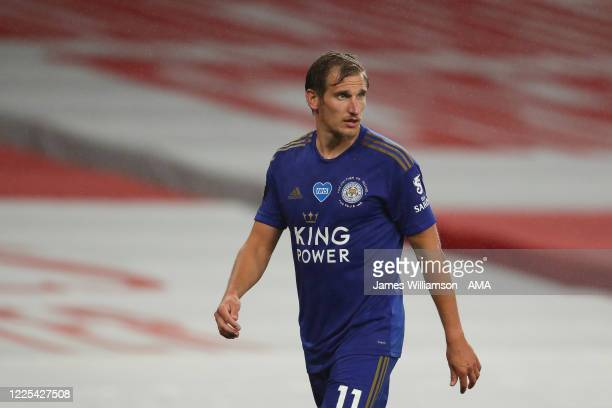Marc Albrighton of Leicester City during the Premier League match between Arsenal FC and Leicester City at Emirates Stadium on July 7 2020 in London...
