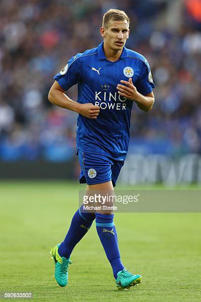 Marc Albrighton of Leicester City during the Premier League match between Leicester City and Arsenal at The King Power Stadium on August 20 2016 in...