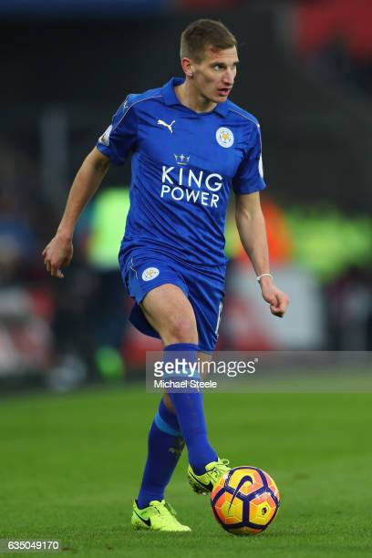 Marc Albrighton of Leicester City during the Premier League match between Swansea City and Leicester City at Liberty Stadium on February 12 2017 in...