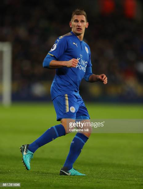 Marc Albrighton of Leicester City during the Premier League match between Leicester City and Tottenham Hotspur at The King Power Stadium on November...