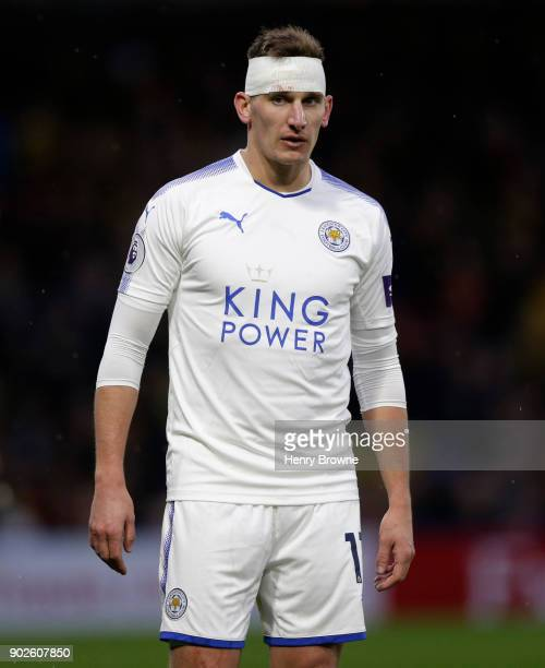 Marc Albrighton of Leicester City during the Premier League match between Watford and Leicester City at Vicarage Road on December 26 2017 in Watford...