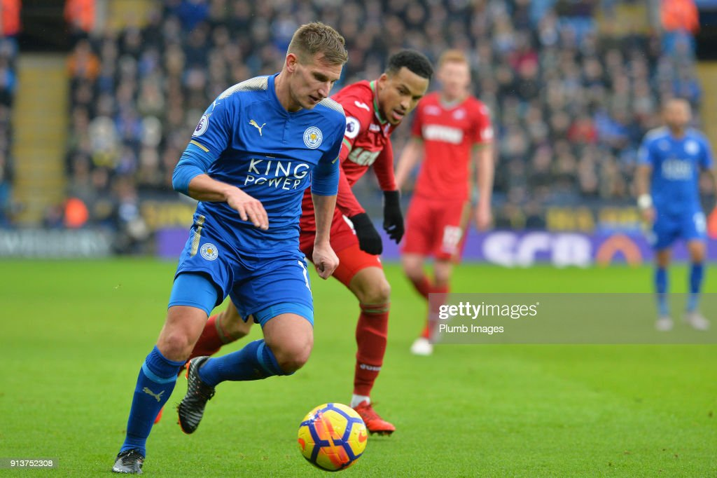 Marc Albrighton of Leicester City during the Premier League match between Leicester City and Swansea City at King Power Stadium on February 3rd , 2018 in Leicester, United Kingdom.