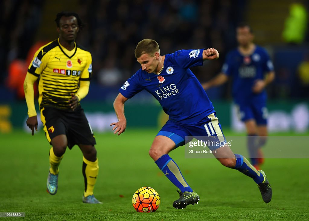 Marc Albrighton of Leicester City in action during the Barclays Premier League match between Leicester City and Watford at The King Power Stadium on November 7, 2015 in Leicester, England.