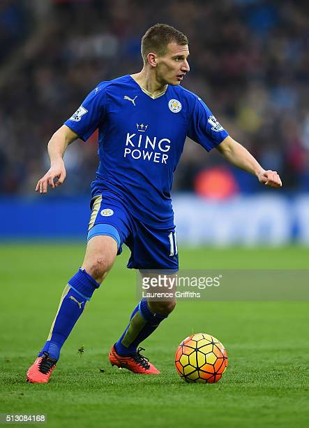 Marc Albrighton of Leicester City in action during the Barclays Premier League match between Leicester City and Norwich City at The King Power...