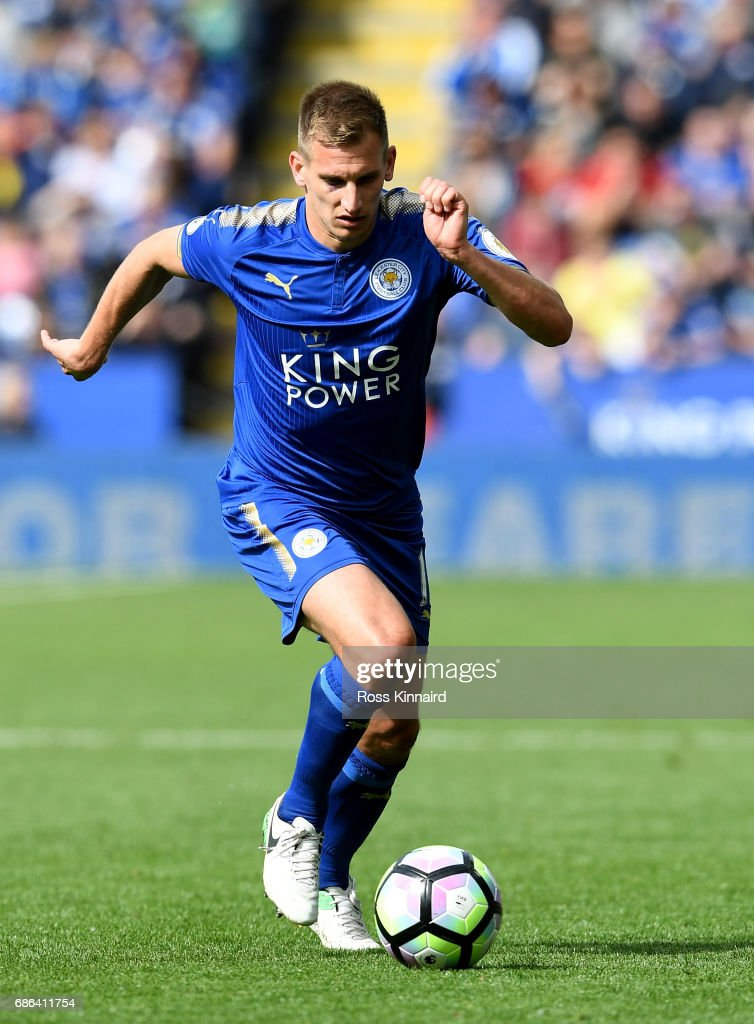 Marc Albrighton of Leicester City in action during the Premier League match between Leicester City and AFC Bournemouth at The King Power Stadium on May 21, 2017 in Leicester, England.