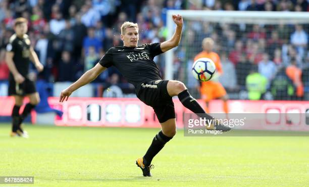 Marc Albrighton of Leicester City in action during the Premier League match between Huddersfield Town and Leicester City at John Smith's Stadium on...