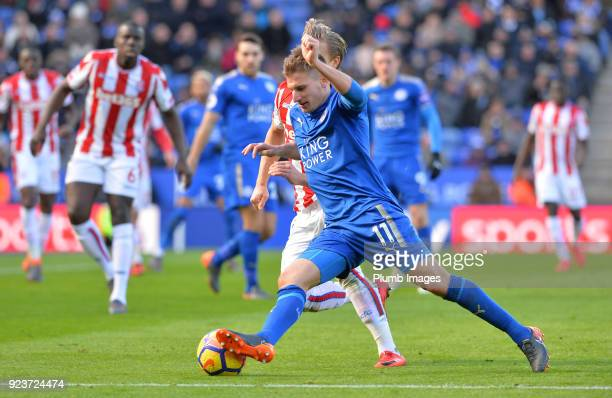 Marc Albrighton of Leicester City in action during the Premier League match between Leicester City and Stoke City at King Power Stadium on February...