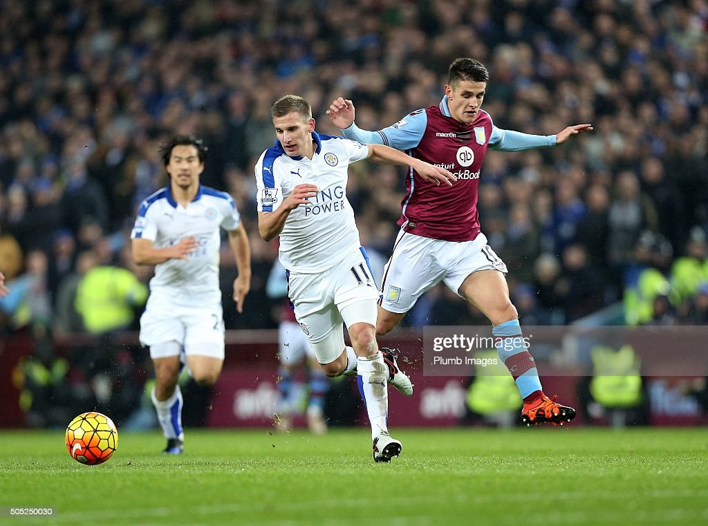 Marc Albrighton of Leicester City in action with Ashley Westwood of Aston Villa during the Premier League match between Aston Villa and Leicester City at Villa Park on January 16, 2016 in Birmingham, United Kingdom.