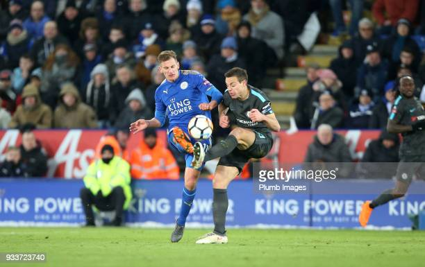 Marc Albrighton of Leicester City in action with Cesar Azpilicueta of Chelsea during The Emirates FA Cup Quarter Final tie between Leicester City and...