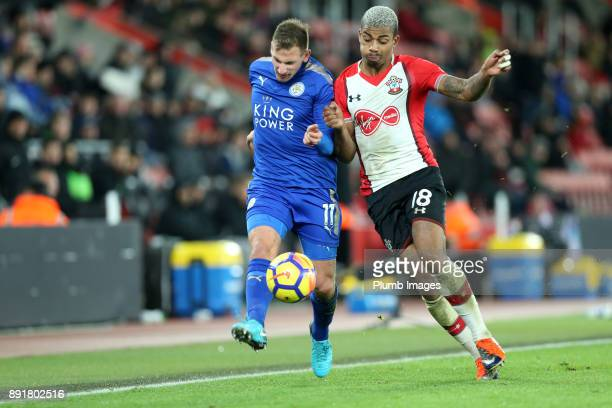 Marc Albrighton of Leicester City in action with Mario Lemina of Southampton during the Premier League match between Southampton and Leicester City...