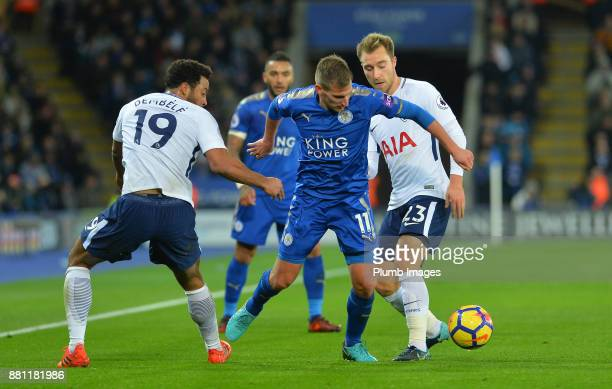 Marc Albrighton of Leicester City in action with Mousa Dembele and Christian Erikson of Tottenham Hotspur during the Premier League match between...