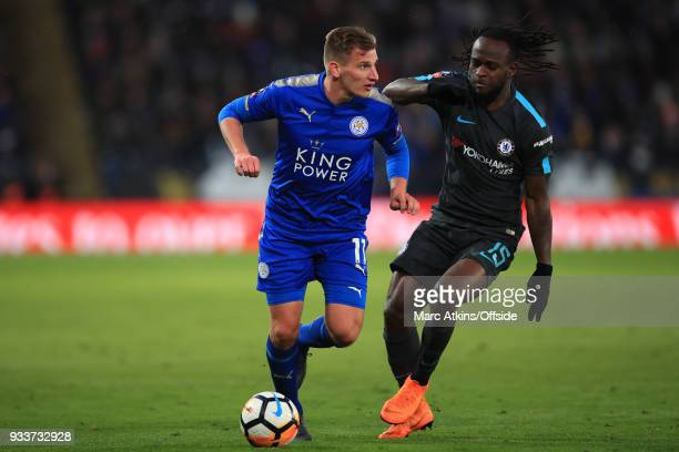 Marc Albrighton of Leicester City in action with Victor Moses of Chelsea during the Emirates FA Cup Quarter Final match between Leicester City and...