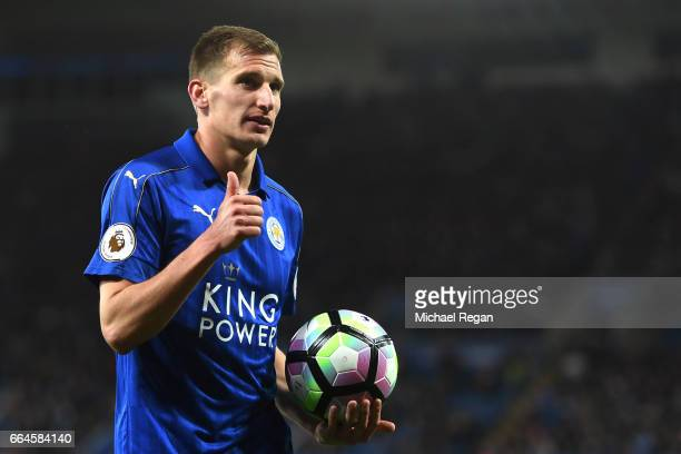 Marc Albrighton of Leicester City looks on during the Premier League match between Leicester City and Sunderland at The King Power Stadium on April 4...