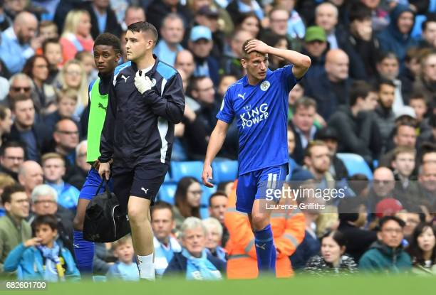 Marc Albrighton of Leicester City reacts after he is fouled during the Premier League match between Manchester City and Leicester City at Etihad...