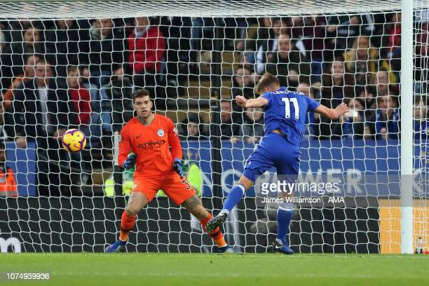 Marc Albrighton of Leicester City scores a goal to make it 11 during the Premier League match between Leicester City and Manchester City at The King...