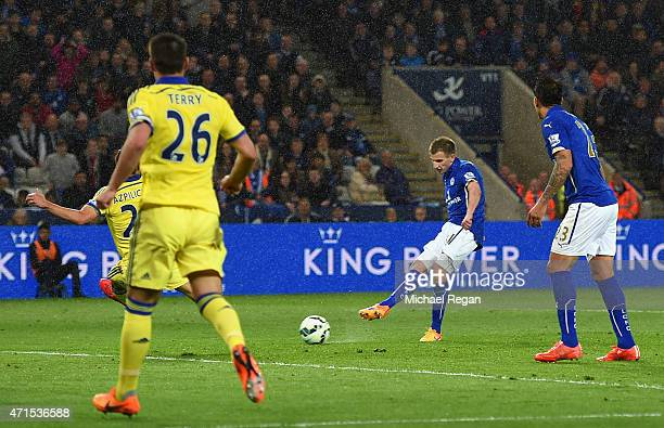 Marc Albrighton of Leicester City scores the opening goal during the Barclays Premier League match between Leicester City and Chelsea at The King...