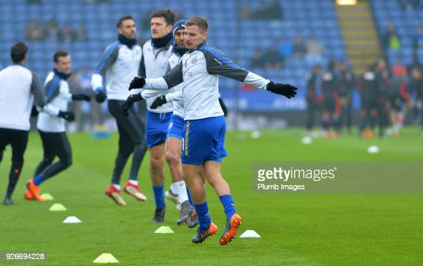 Marc Albrighton of Leicester City warms up at King Power Stadium ahead of the Premier League match between Leicester City and Bournemouth at King...