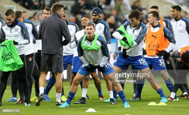 Marc Albrighton of Leicester City warms up at St James Park ahead of the Premier League match between Newcastle United and Leicester City at St James...