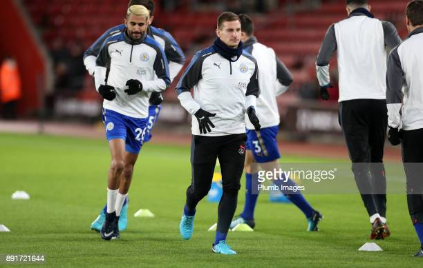 Marc Albrighton of Leicester City warms up at St Mary's Stadium ahead of the Premier League match between Southampton and Leicester City at St Mary's...