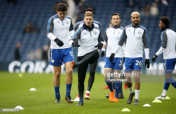 Marc Albrighton of Leicester City warms up at The Hawthorns ahead of the Premier League match between West Bromwich Albion and Leicester City at The...
