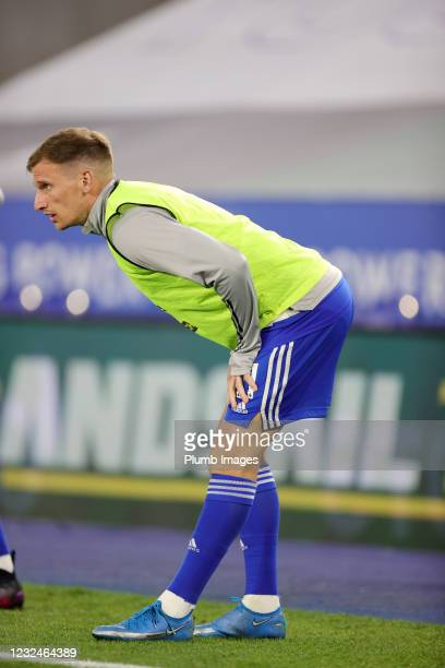 Marc Albrighton of Leicester City warms up from the bench during the Premier League match between Leicester City and West Bromwich Albion at The King...