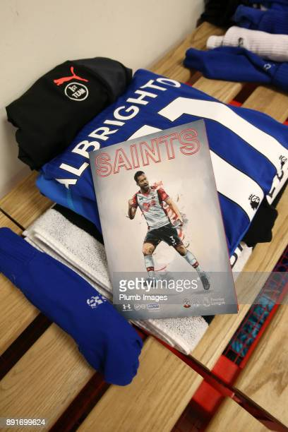 Marc Albrighton of Leicester City's kit is laid out at St Mary's Stadium ahead of the Premier League match between Southampton and Leicester City at...