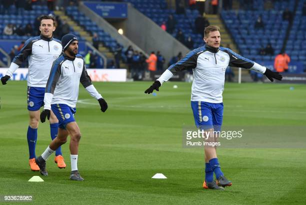 Marc Albrighton Riyad Mahrez and Ben Chilwell of Leicester City before the FA Cup Sixth round match between Leicester City and Chelsea at The King...