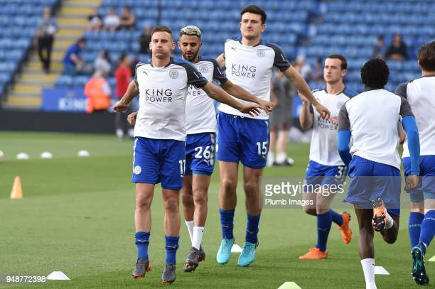 Marc Albrighton Riyad Mahrez and Harry Maguire of leicester City before the Premier League match between Leicester City and Southampton at The King...