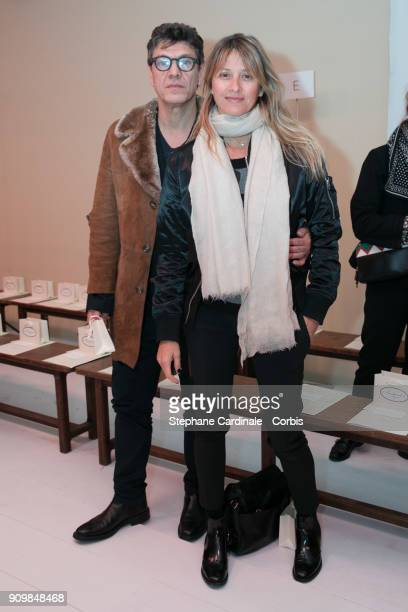 Marc and Sarah Lavoine attend the Bonpoint Winter 2018 show as part of Paris Fashion Week January 24 2018 in Paris France